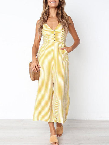 Striped V-neck High Waist Sexy Women Jumpsuit with Pockets