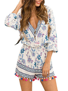 Tassel Print Deep V-neck 3/4 Sleeve Women Short Jumpsuit