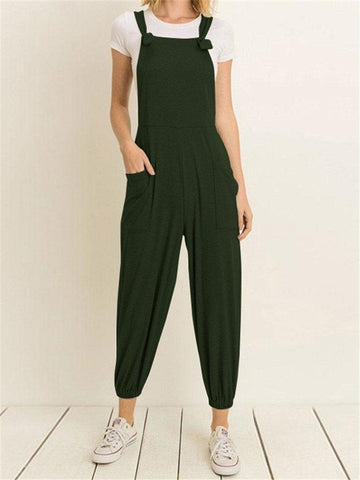 Casual Pockets Jogger Straps Solid Color Jumpsuit