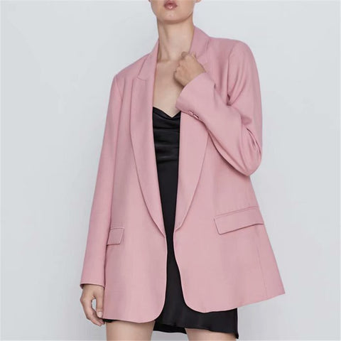 female pink business blazer jacket fashion female formal blazers