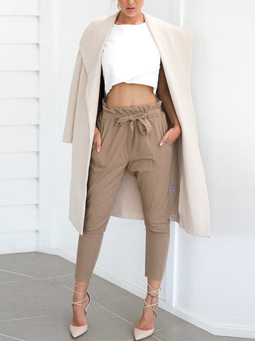 Gathering Bow Waist With Pocket Crop Pants