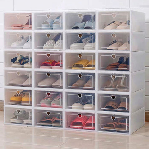 6PCS Flip Shoes Box Thickened Transparent Plastic Shoe Organizer