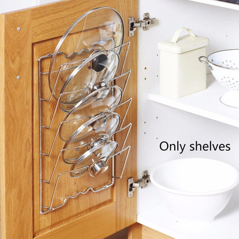 Anti-fall Metal Drying Pan Pot Rack Cover Lid Holder Holder Kitchen Tool 5 Layer