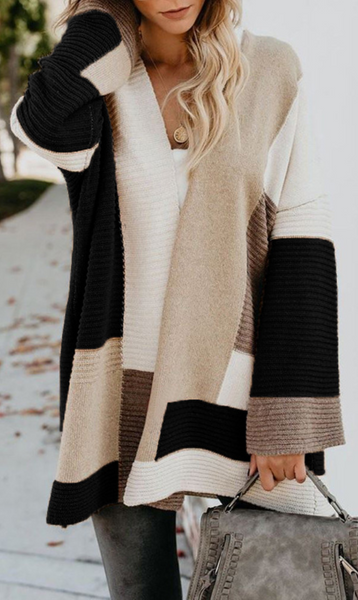 Black Colorblock Ribbed Knit Cardigan