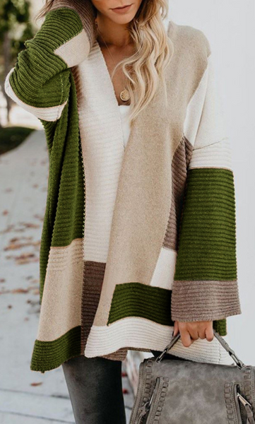 Olive Green Colorblock Ribbed Knit Cardigan