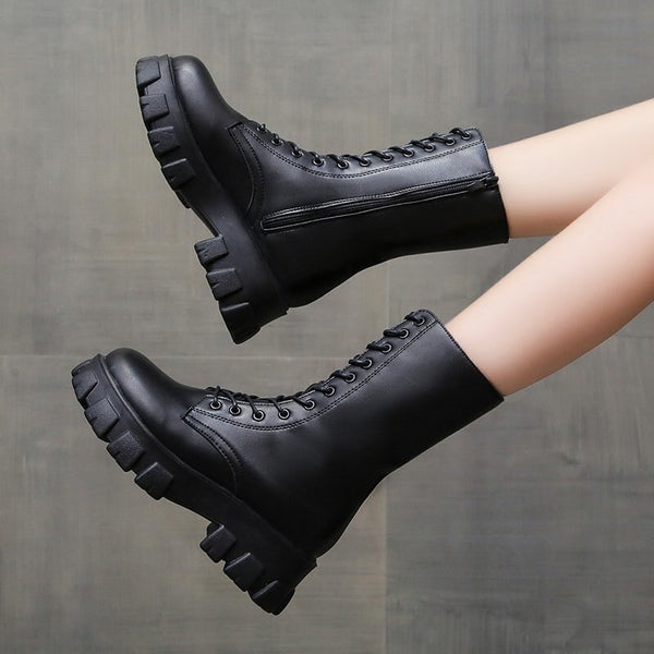 2020 Mid Calf Boots Women Winter Fashion Lace-up Zipper Botas Mujer Women Motorcycle Boots