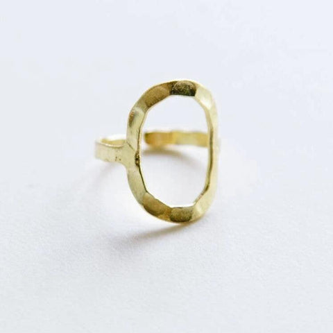 Hammered Oval Ring - Gold