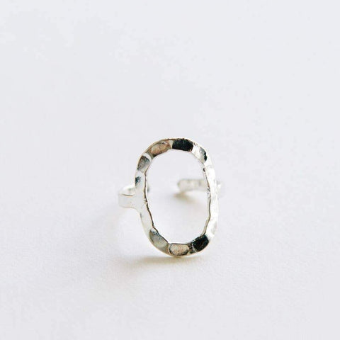Hammered Oval Ring - Silver