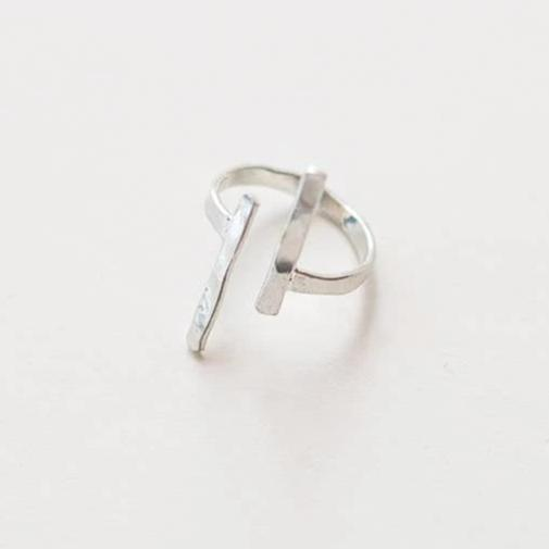 Hammered Couplet Ring - Silver