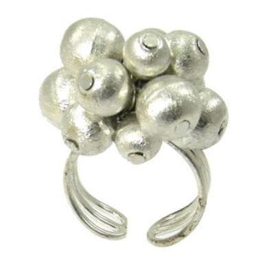 Metallic Ball Bead Ring - Silver