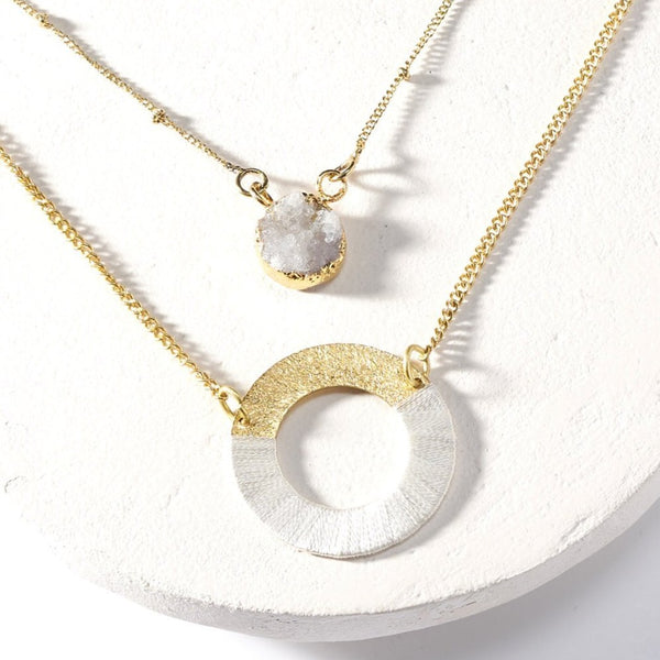 Kaia Druzy Necklace - White Disc