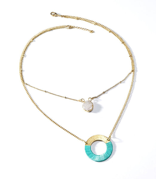 Kaia Druzy Necklace - Teal Disc - Rebel Vine Boutique