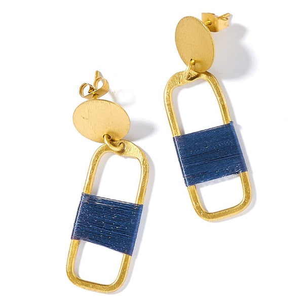 Kaia Earrings - Navy Link