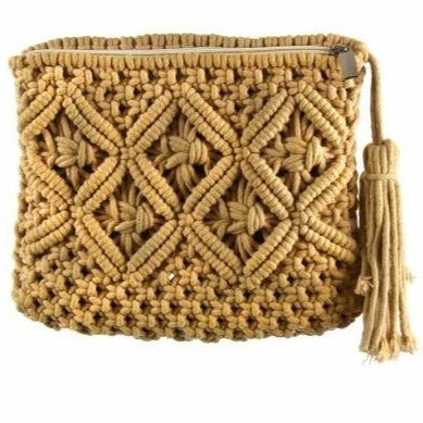 Macrame Clutch with Tassel - Tan