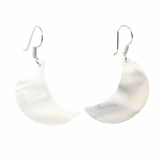 Mother of Pearl Crescent Moon Earrings