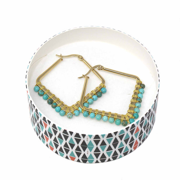 Kayla Turquoise Howlite Hoop Earrings - Blue