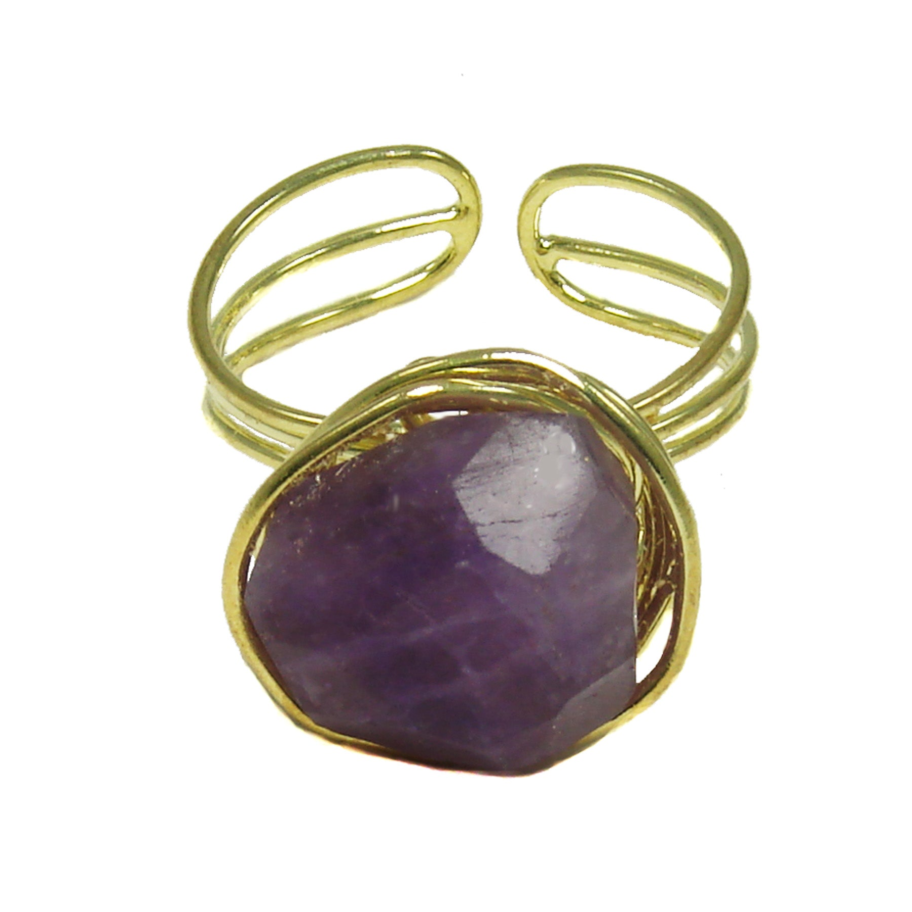 Plum Agate Chunk Statement Ring - Handmade and Fair Trade