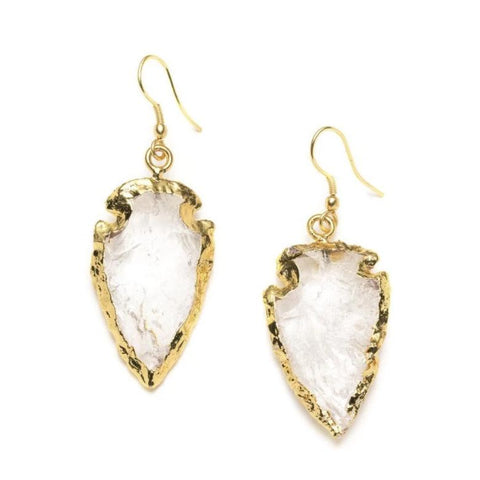 Arrowhead Quartz Earrings - Crystal