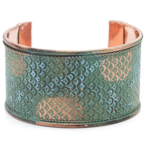 Art Deco Scallop Cuff - Patina