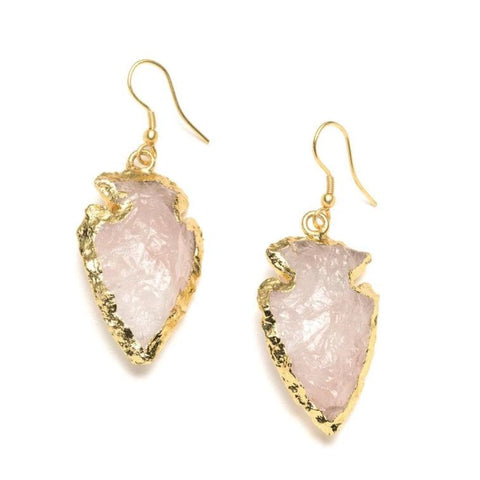 Arrowhead Quartz Earrings - Rose