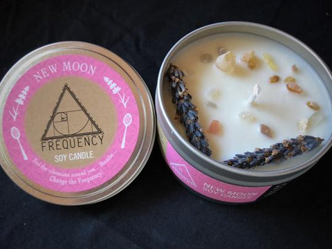 New Moon Crystal Infused Soy Candle - Rebel Vine Boutique