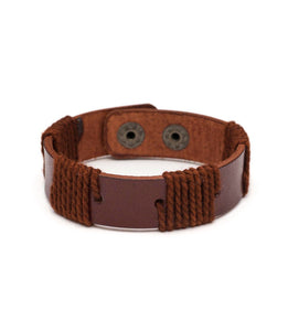 Rama Sustainable Leather Cuff - Brown - Rebel Vine Boutique