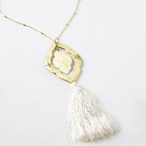 Nihira Ashram Window Necklace - Gold Tassel