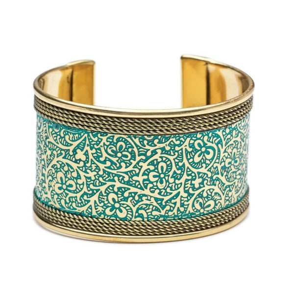 Metal Impressions Cuff - Teal and Gold