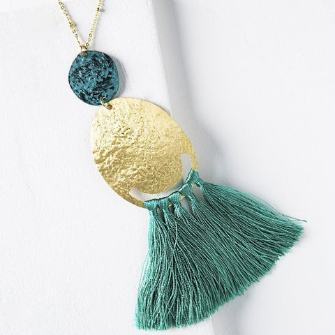 Nihira Tassel Necklace - Teal