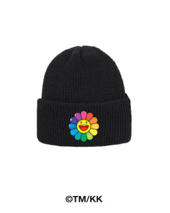 Rainbow Flower Beanie - Black