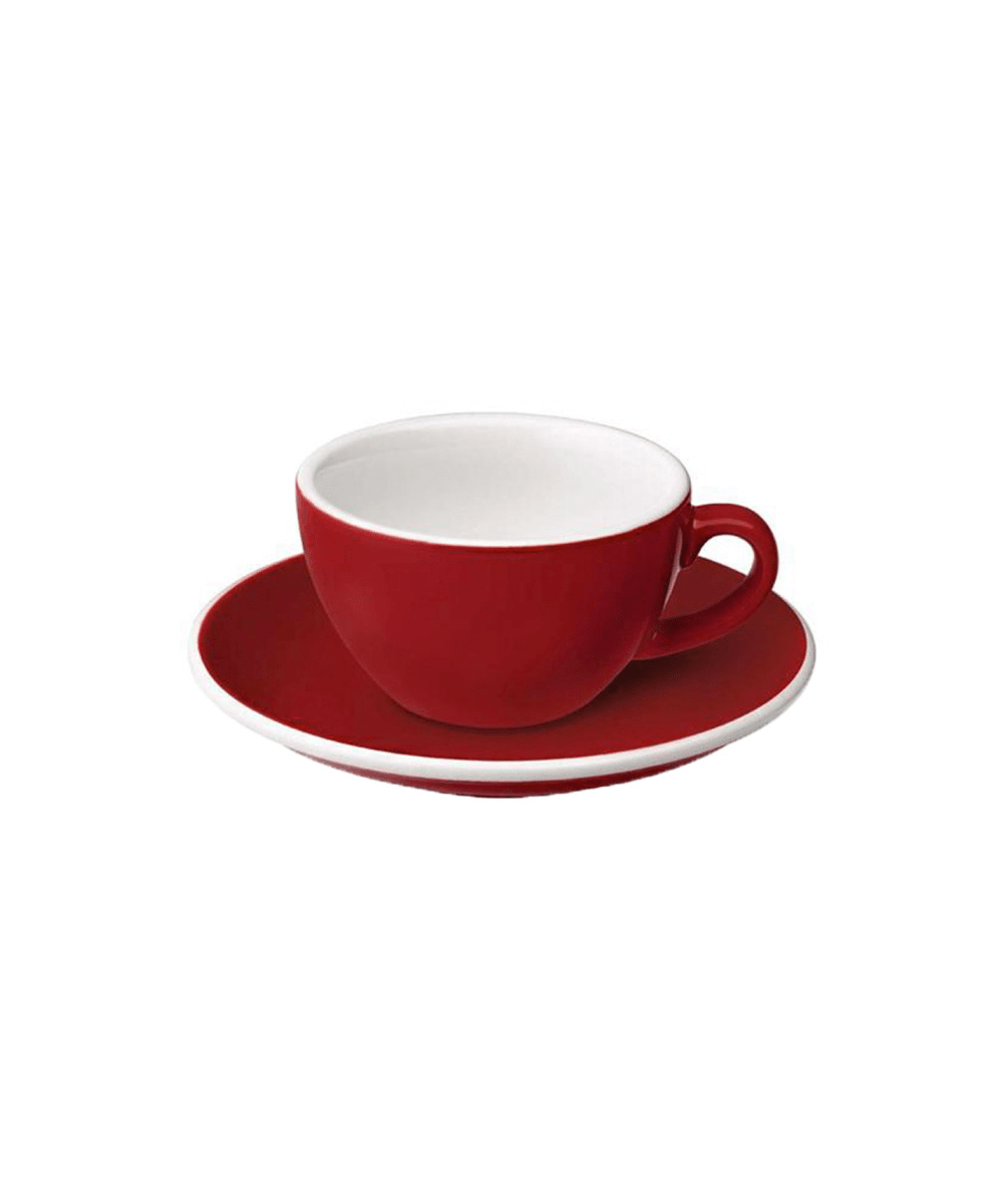 Egg Flat White Cup & Saucer - Red