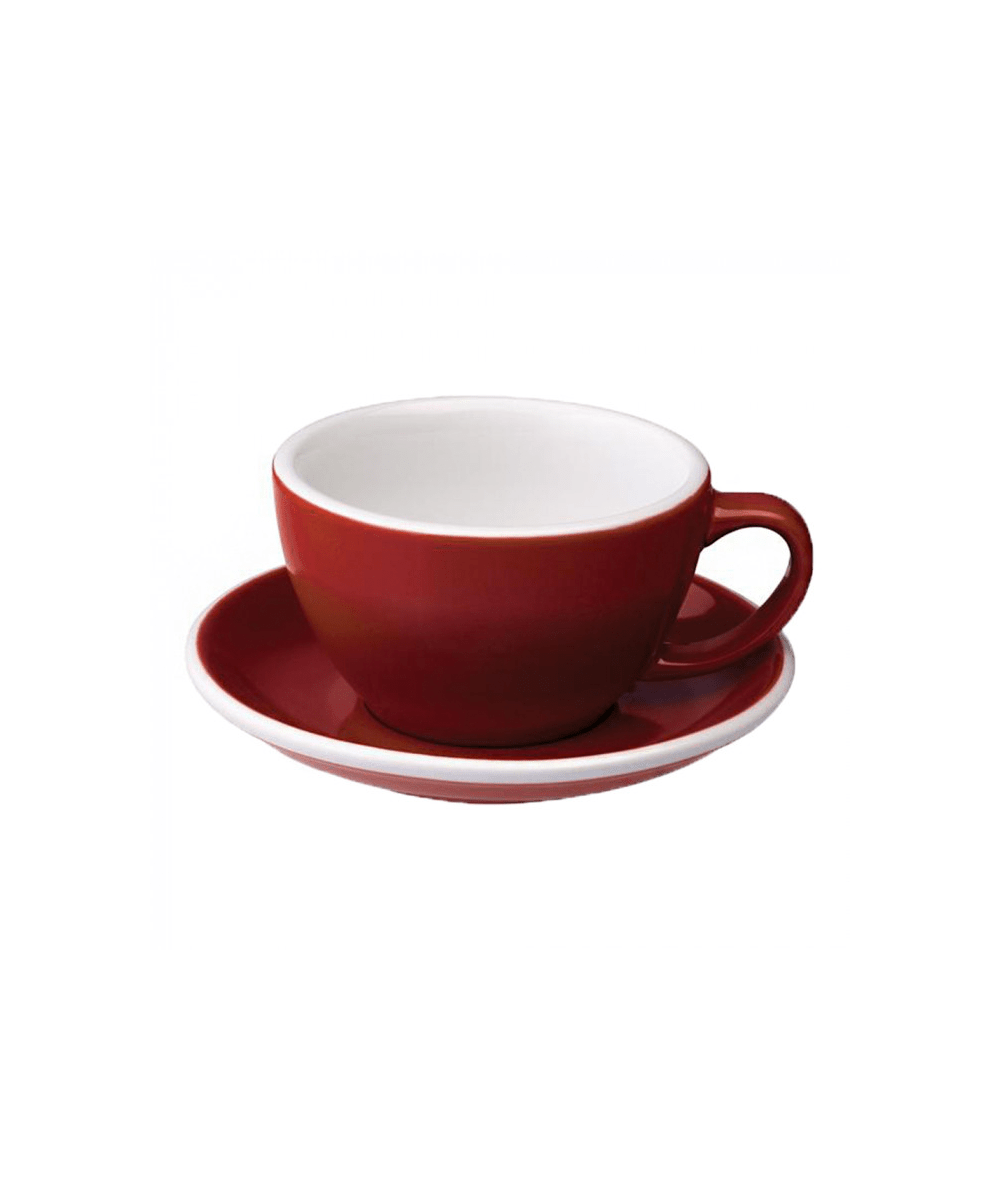 Egg Latte Cup & Saucer - Red