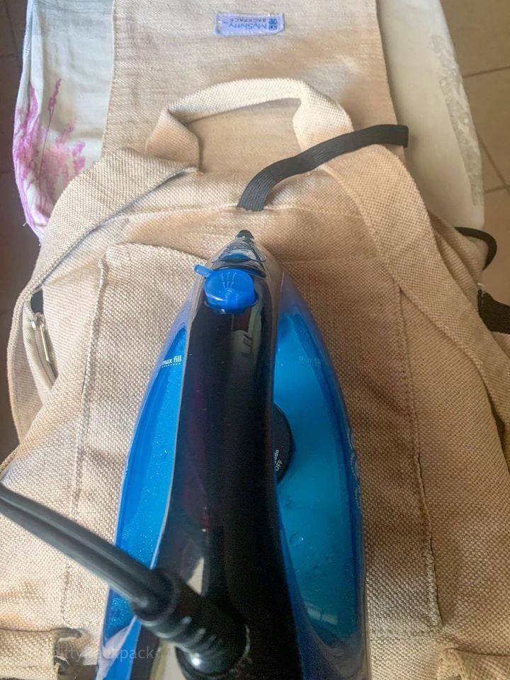 how to iron the sides of the backpack