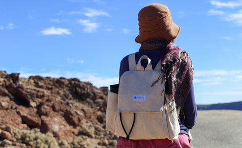 A woman is wearing the backpack while looking at a desert landscape