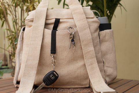 this photo shows how the key organizer hangs from the back of the backpack with a set of car keys and a set of house keys