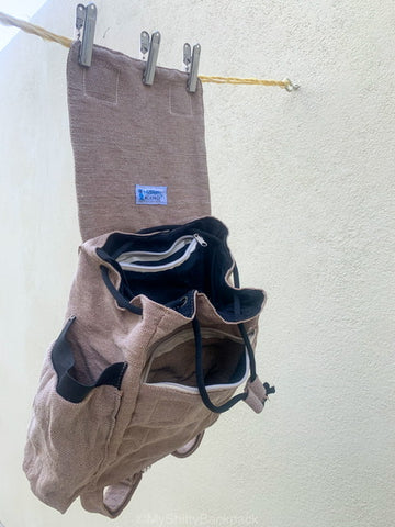 This shows how I let my backpack hang dry in the air after I wash it by hand