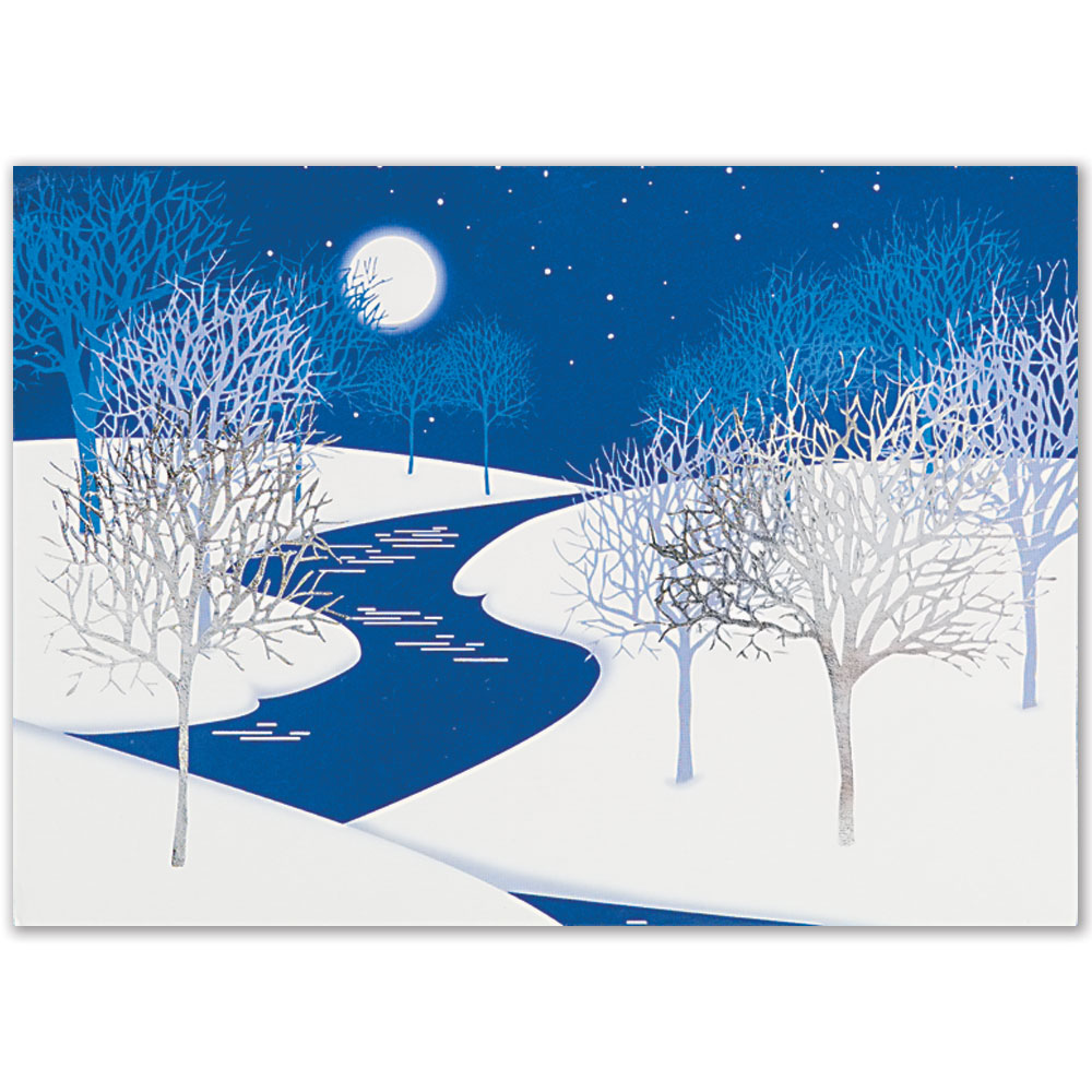 Cold Night Trees Holiday Greeting Card
