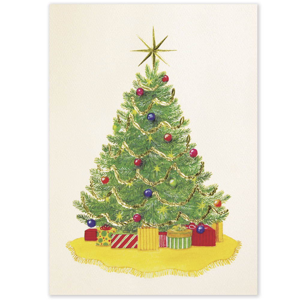 Gold Star Tree Holiday Greeting Card