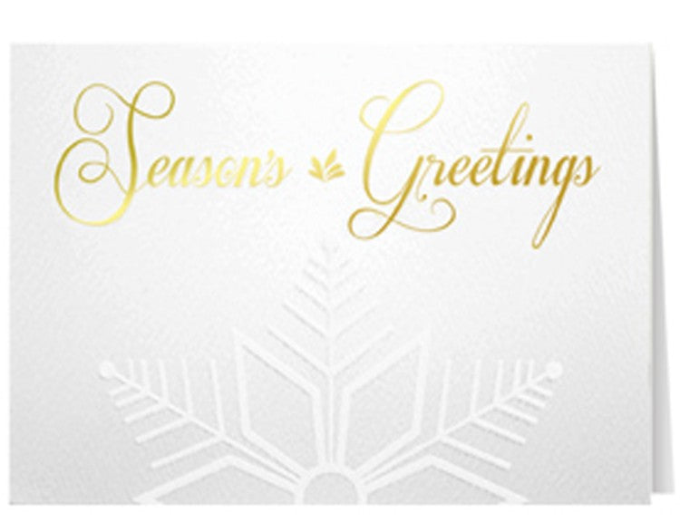Gold Embossed Snowflake Holiday Greeting Card