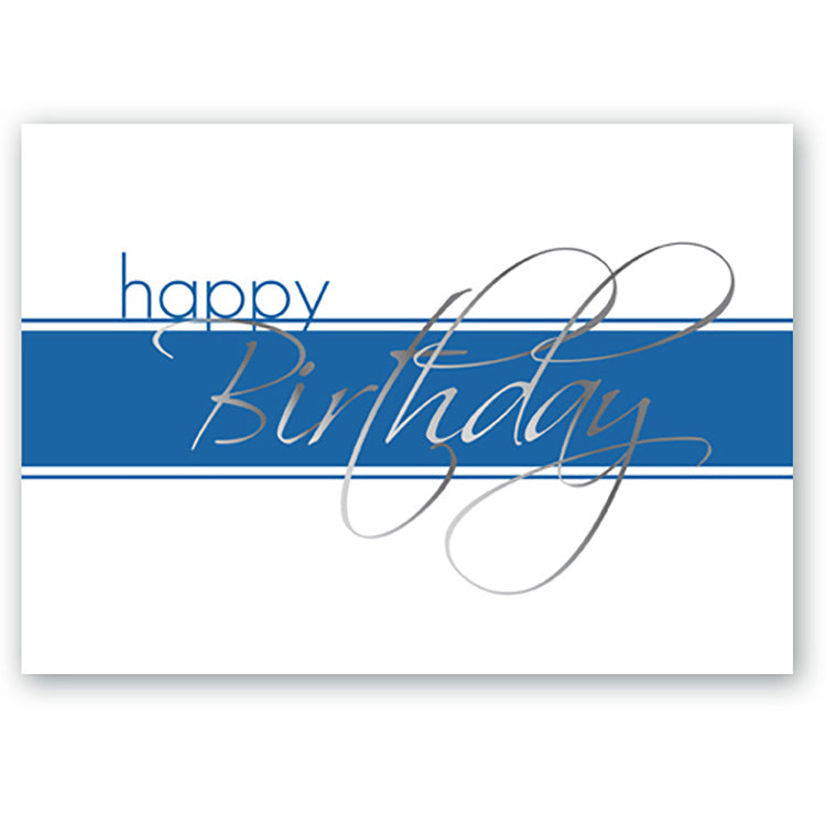 Silver Script Birthday Card