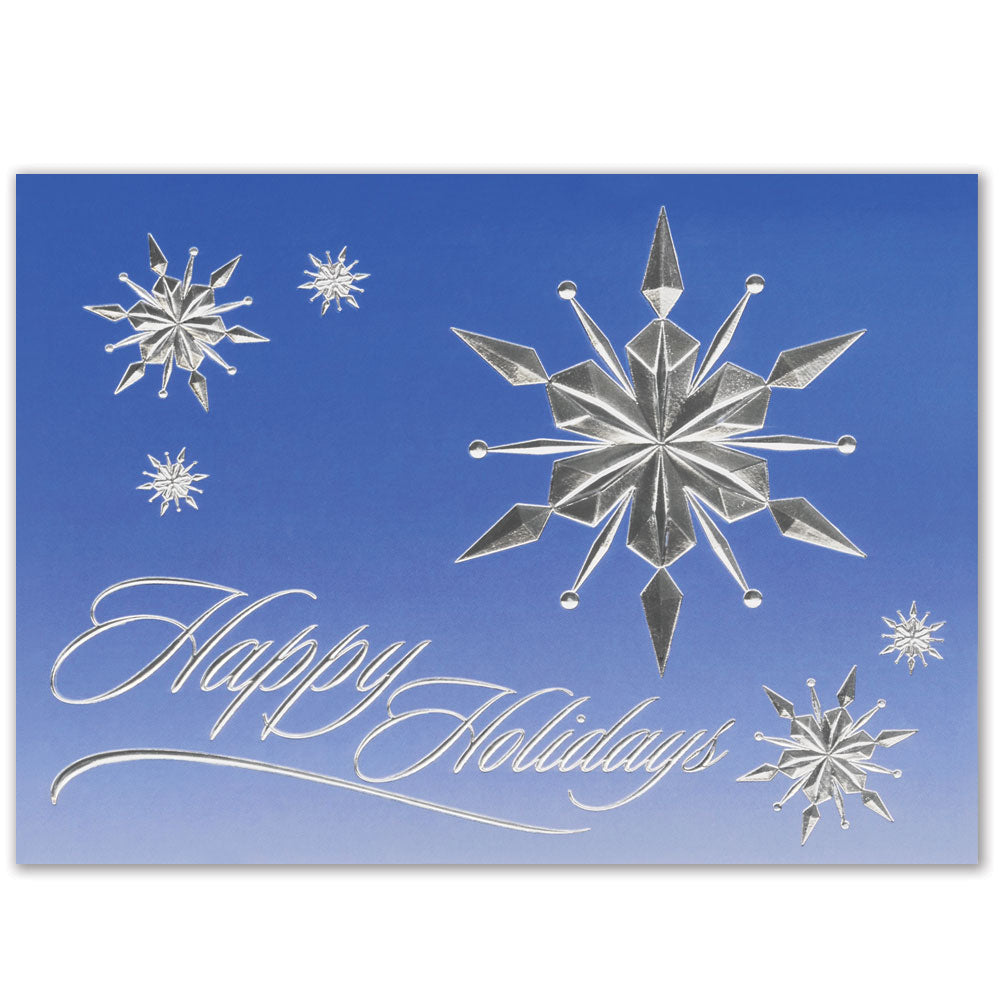 Raised Relief Snowflakes Holiday Greeting Card