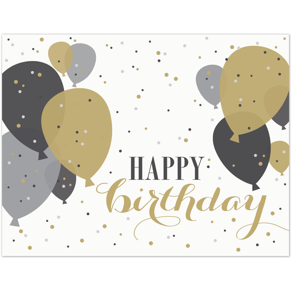 Gold Balloons Birthday Card