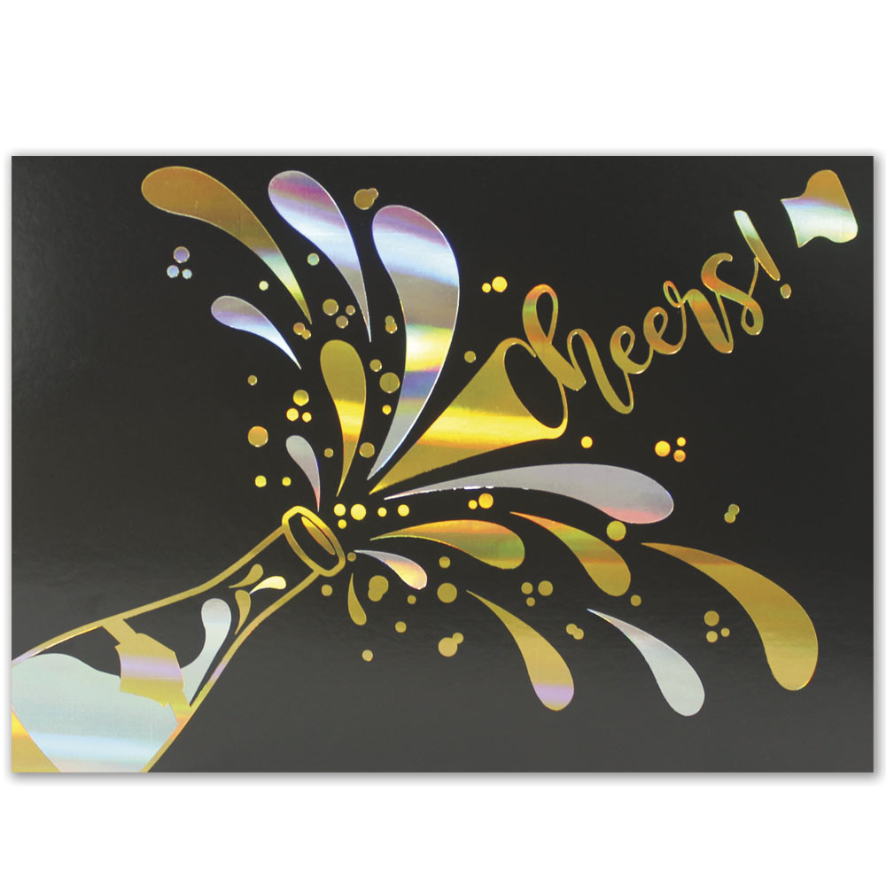 Cheers Holiday Greeting Card – Gold