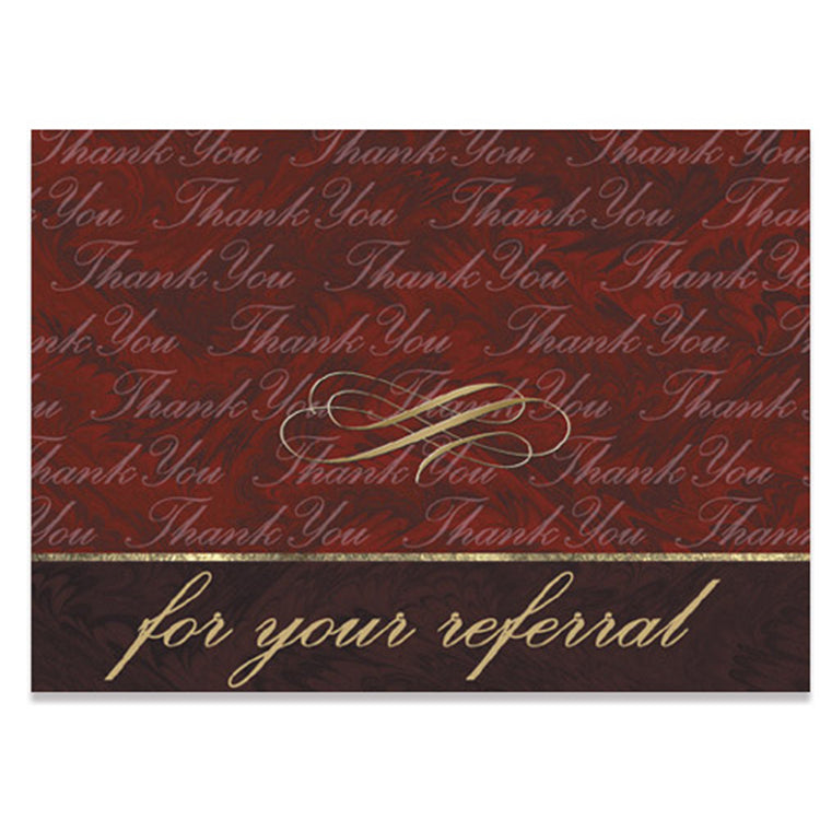 Burgundy Marble Referral Thank You Card