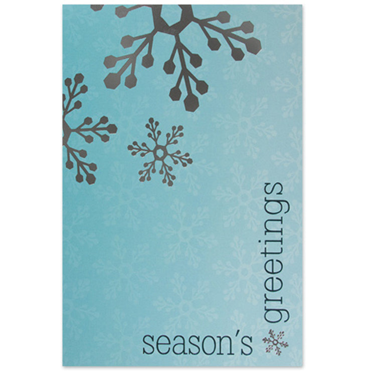 Silver Snowflakes on Blue Holiday Greeting Card