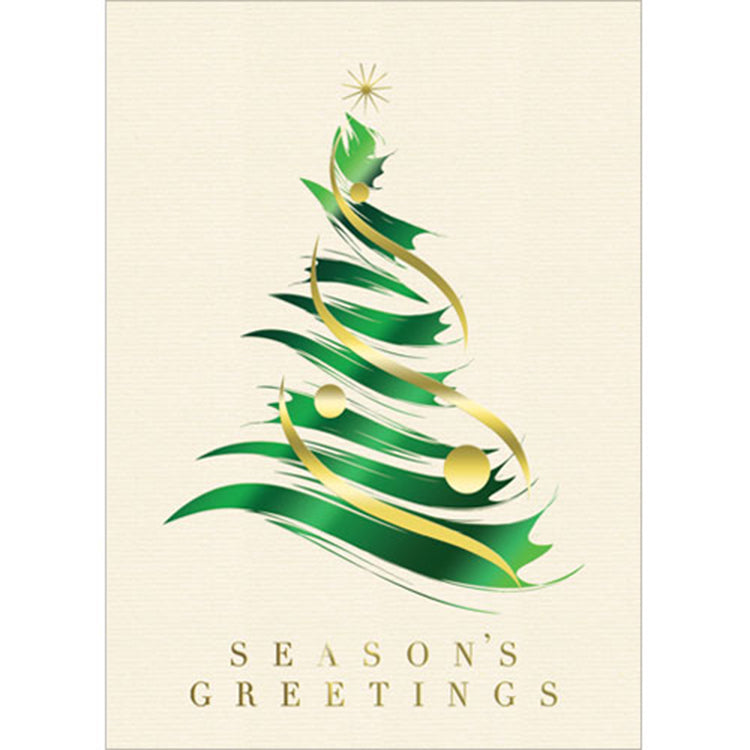 Brushstroke Tree Holiday Greeting Card
