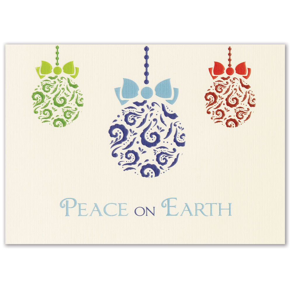 Embossed Ornaments Holiday Greeting Card