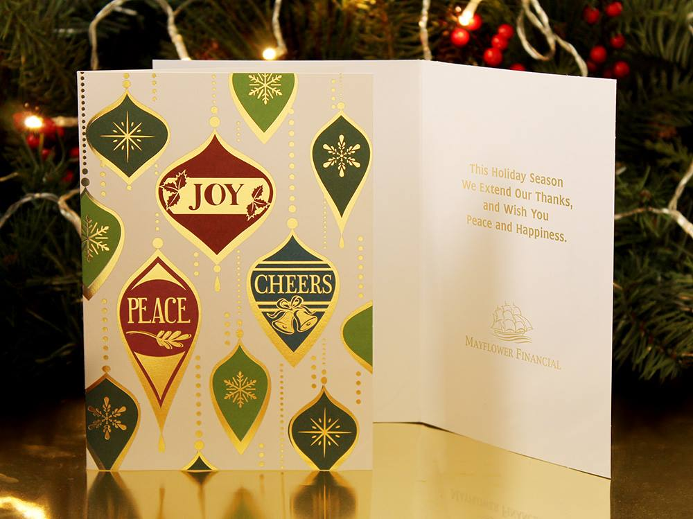 Peace and Joy Ornaments Holiday Greeting Card