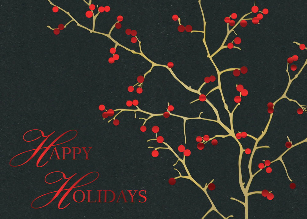Red Berries Holiday Greeting Card