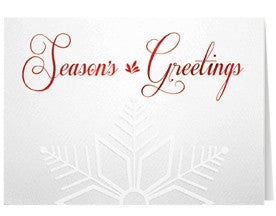 Red Embossed Snowflake Holiday Greeting Card